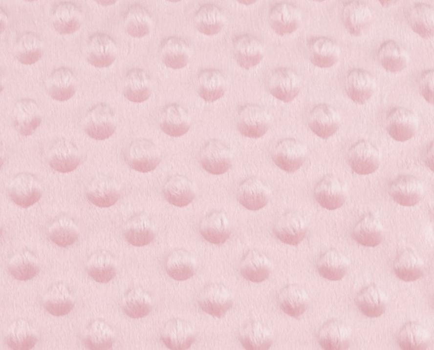 Tissu minky a pois rose clair
