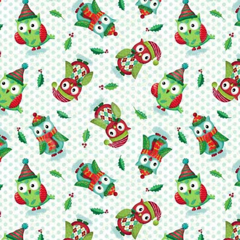 Tissu owl be home for christmas spx fabrics 227