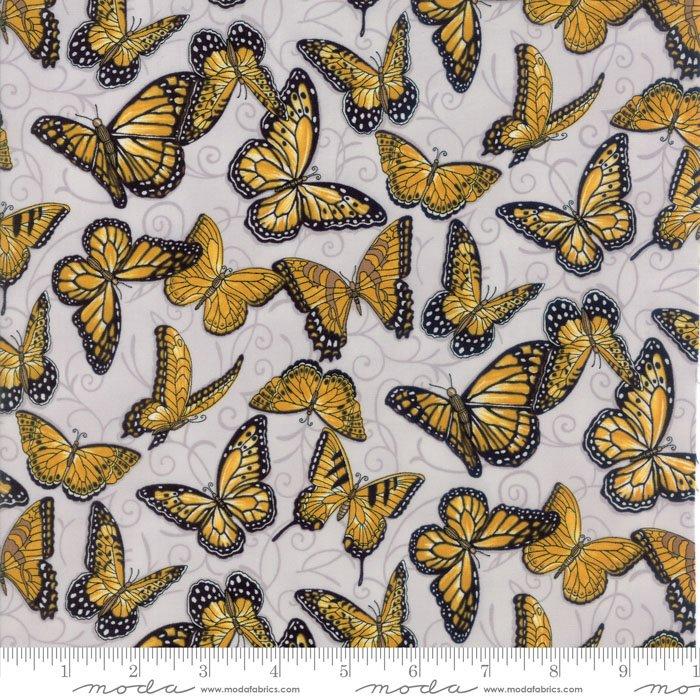 Tissu patch papillon sur fond gris 5