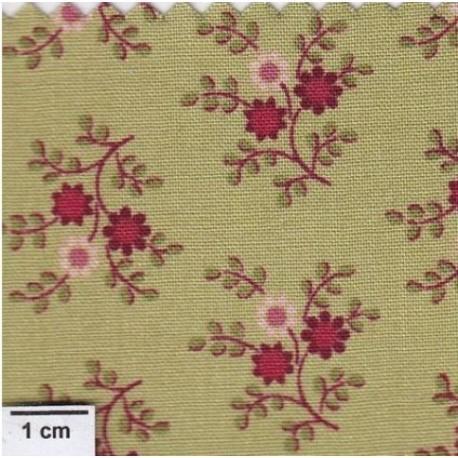 Tissu patchwork vert petites fleurs petals 481