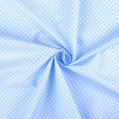 Tissu Popeline à Pois Blanc Fond Bleu Ciel 50x160 cm