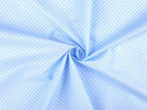 Tissu popeline a pois blanc fond bleu clair 1