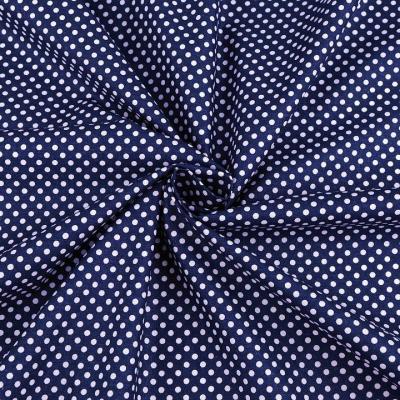 Tissu Popeline à Pois Blanc Fond Bleu Nuit 50x160 cm