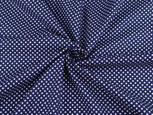 Tissu popeline a pois blanc fond bleu nuit 1