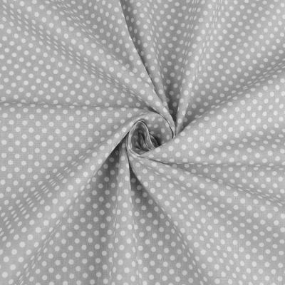 Tissu Popeline à Pois Blanc Fond Gris 50x160 cm