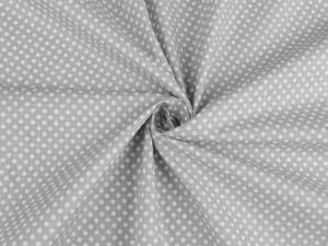 Tissu popeline a pois blanc fond gris 1