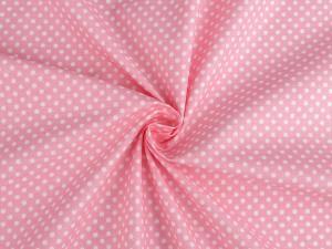 Tissu popeline a pois blanc fond rose 1