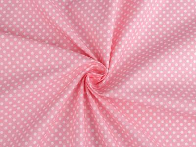 Tissu Popeline à Pois Blanc Fond Rose 50x160 cm