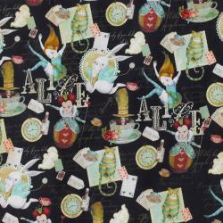 Tissu popeline coton alice au pays des merveilles noir