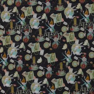 Tissu popeline coton alice au pays des merveilles noir5