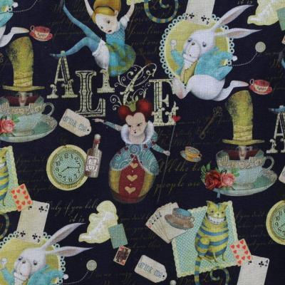 Tissu Popeline Coton Alice aux Pays des Merveilles - Noir