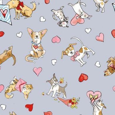 Tissu Patchwork Clothworks Puppy Love Chiens et Coeurs