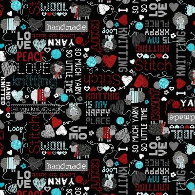 Tissu Patchwork Bernatex All you knit is love 09921 12