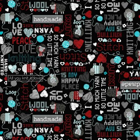 Tissus patchwork bernartex all you knit is love 9921 12