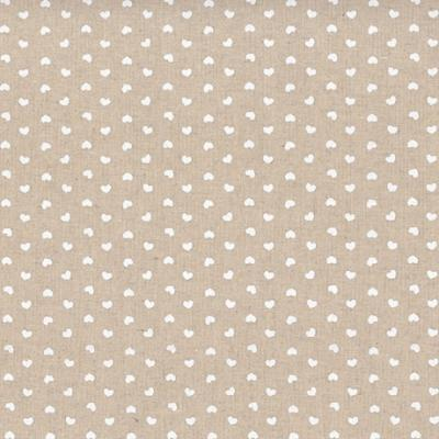 Tissus Patchwork Stof Lin Shabby Chic Coeurs Blanc ST18-132