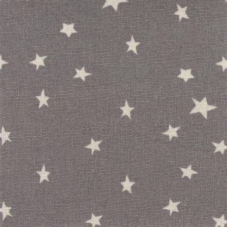 Tissus patchwork stof lin shabby chic etoiles blanches fond gris st18 162