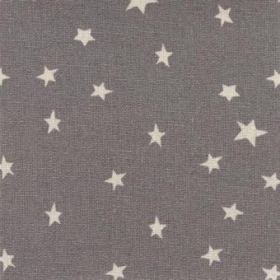 Tissus Patchwork Stof Lin Shabby Chic Etoiles Blanches Fond Gris ST18-162
