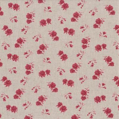 Tissus Patchwork Stof Lin Shabby Chic Fleurs Rouges ST18-117