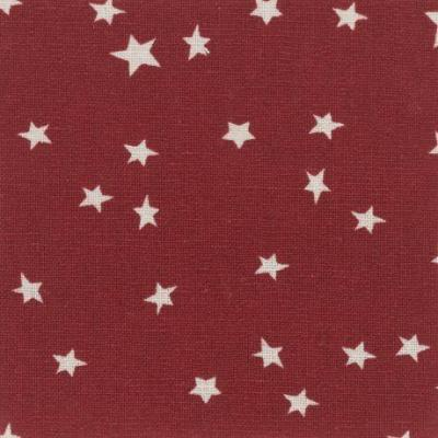 Tissus Patchwork Stof Lin Shabby Chic Etoiles Blanches Fond Rouge ST18-160