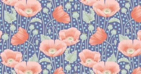 Tissus patchwork tilda gardenlife coquelicot fond bleu 100319 2