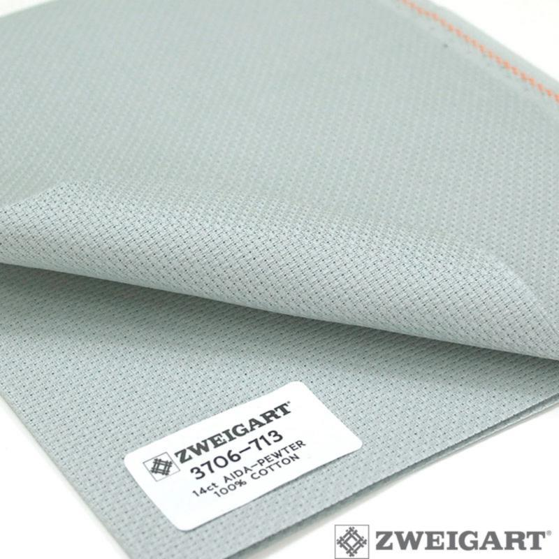 Toile a broder zweigart aida 5 4 pts 3706 gris 713