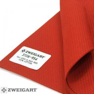 Toile a broder zweigart aida 5 4 pts 3706 rouge 954