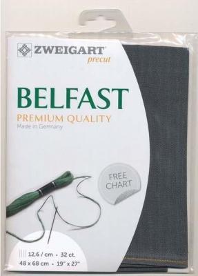 Precut Toile à Broder Zweigart  Lin Belfast 12,6 Fils Gris Charbon 7026 48x68 cm