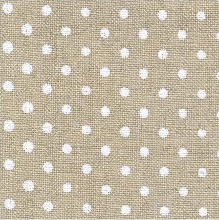 Toile edinburgh 14 fils fond naturel a pois blancs 5379
