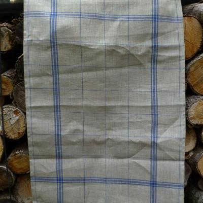 Torchon Lin Naturel à Rayures Bleues 82x55 cm