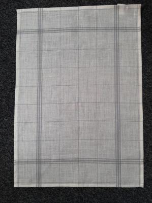 Torchon Lin Blanc Antique à Rayures Grises 82x55 cm