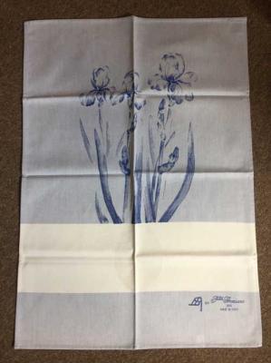 Torchon à broder Iris Bleu 60x75cm Graziano