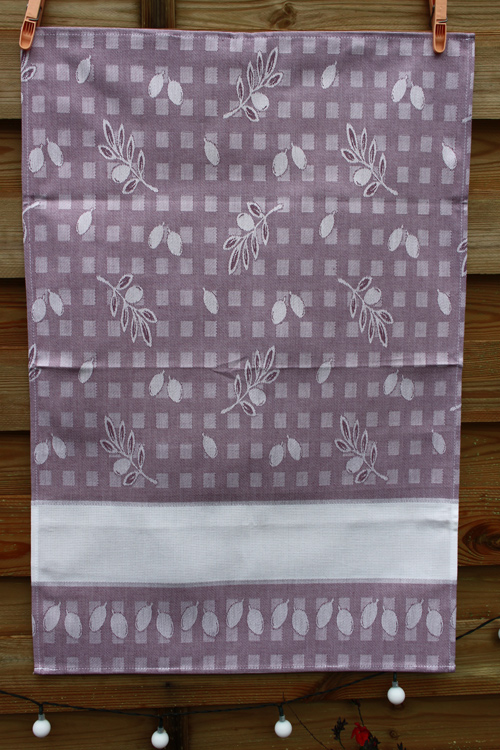 Torchon olive lilas