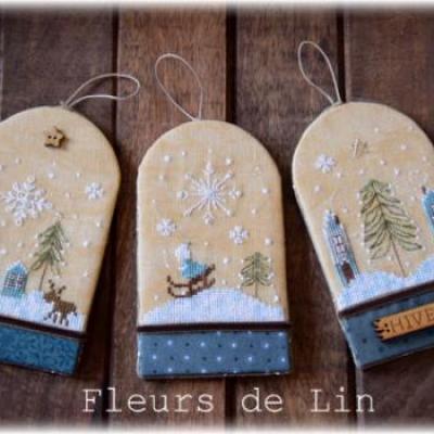 Trio d'étiquettes d'hiver 222 Fleurs de Lin