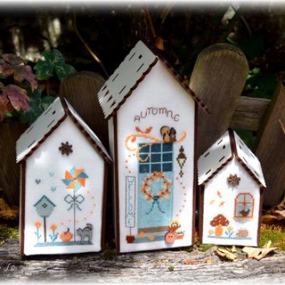 Trio de nichoirs d' automne N° 181 Fleurs de Lin