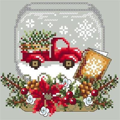 Truck snow globe boule a neige au camion rouge