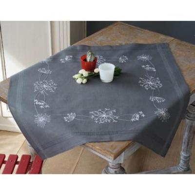 Kit Chemin de Table 80x80 cm Fleurs Blanches