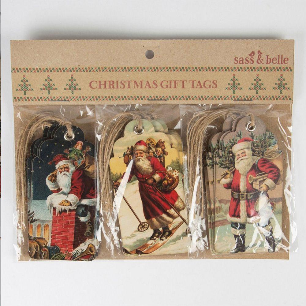 Vintage xmas tags christmas scene gift tags retro vintage style x 15 santa clause 41557 p