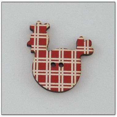 Poule rouge à rayures blanches Z13057  Au P'tit Bonheur