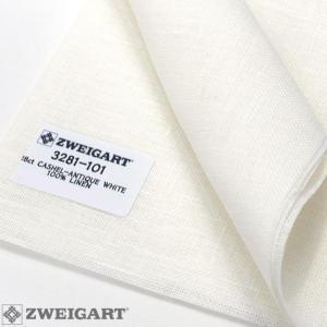 Coupon Toile à Broder Zweigart de Lin Cashel 3281 11,2 Fils 101 Blanc Antique 29x140 cm
